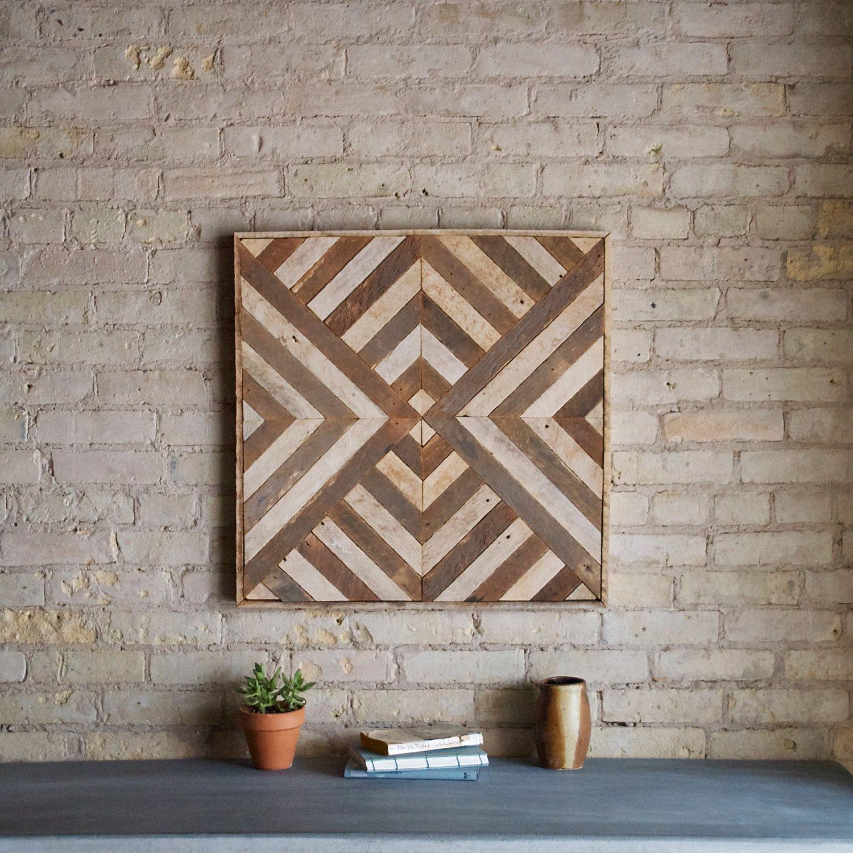 Reclaimed wood wall art decor lath triangle diamond geometric in