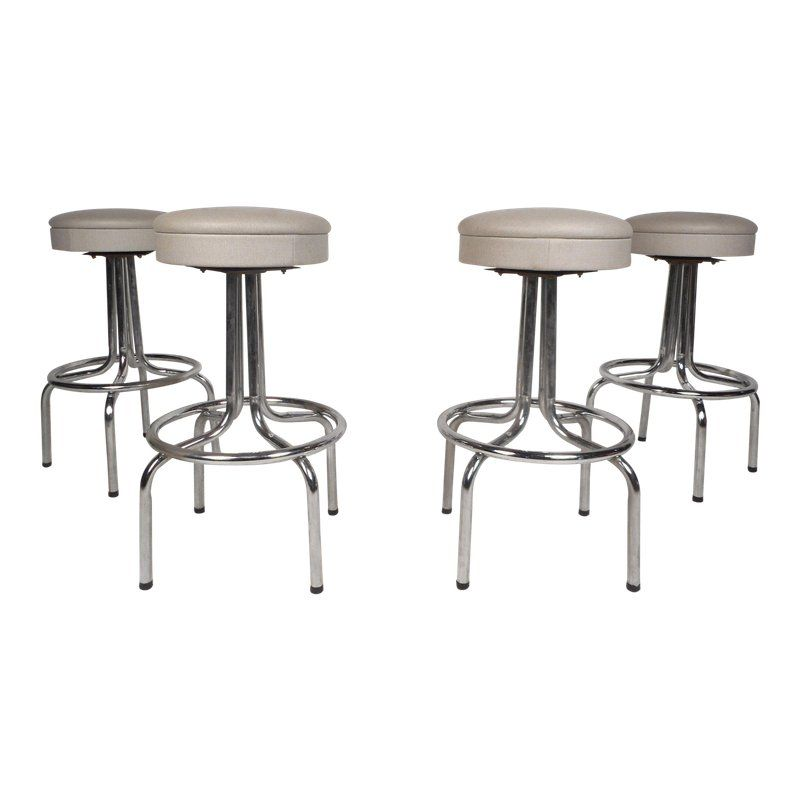 Miraculous Set Of Four Mid Century Modern Swivel Bar Stools Products Ibusinesslaw Wood Chair Design Ideas Ibusinesslaworg