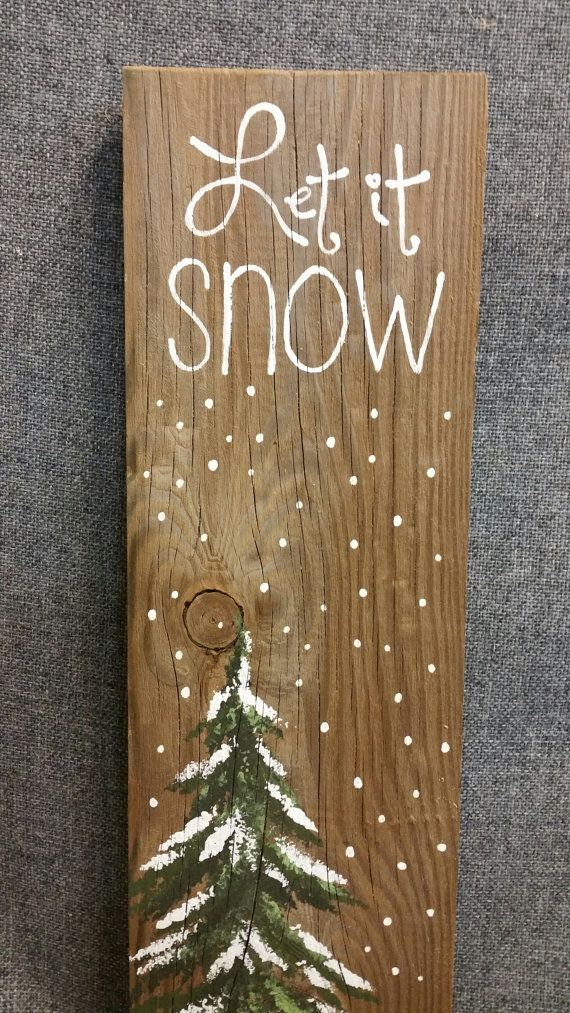 Let it Snow, Hand painted Christmas decorations, winter greenery, Winter Reclaimed Wood Pallet Art, Pine tree, Christmas #oldpalletsforcrafting