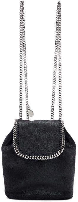 e55c90413 Stella McCartney Black Mini Falabella Backpack Embossed Logo, Luggage Bags,  Shoulder Bag, Pocket