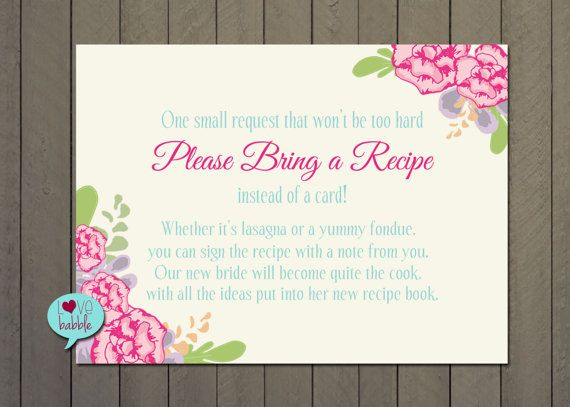Kitchen Shower Recipe Card Request Instead Of Insert Printable