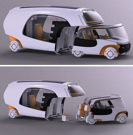 Modular Motorhome Hybrid Camper Car Plus Caravan Combo The Tiny Two Seat Part Is Definitely Built For Short Trips Looking Like A Cross Between