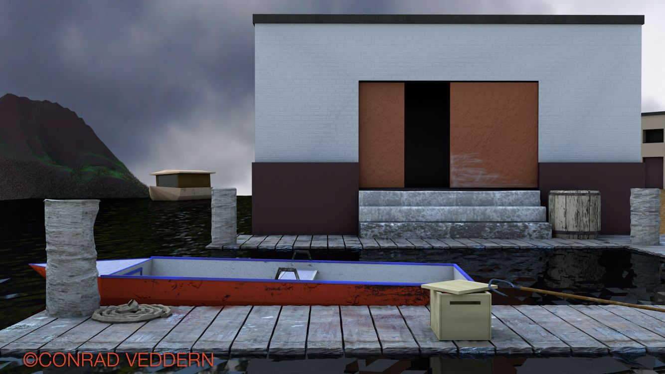 Docks At Dawn  Low poly scene created in cinema4D by Conrad Veddern.