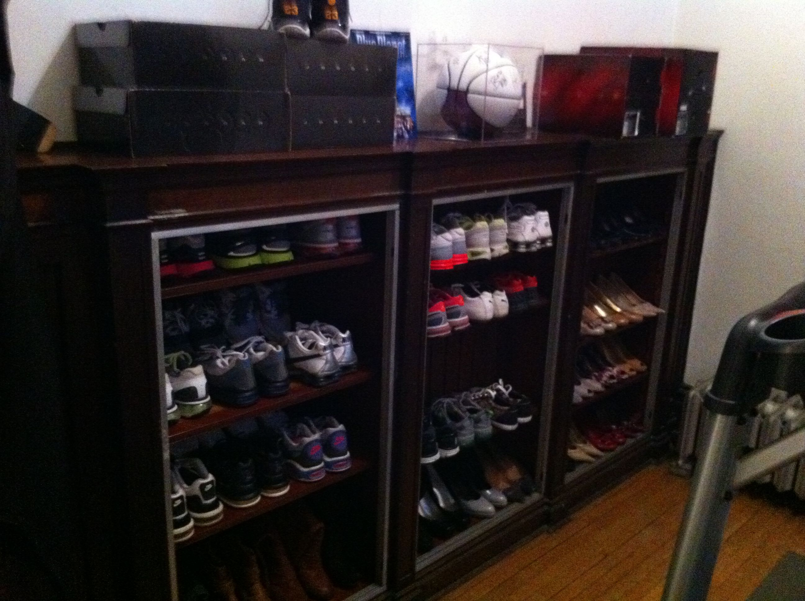 Book shelves used for shoe storage...now I can see all my shoes at ...