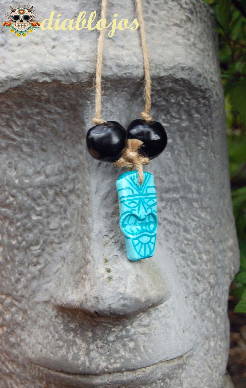 Handmade+and+Handpainted+Clay+Tiki+Hawaiian+Rear+View+by+DiabloJos,+£8.50