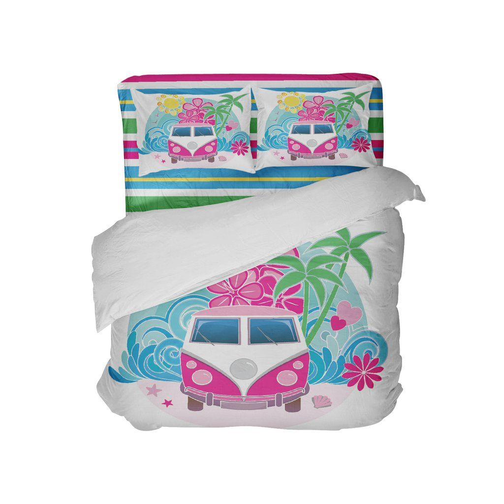 Pink Surf Bus on Beach Duvet Cover Set from Kids Bedding ...