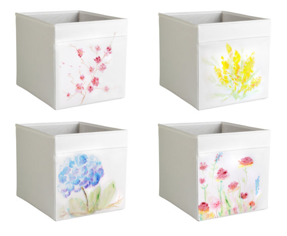 customized ikea drona storage 1 white box expedit kallax insert aquarelle pastel flowers. Black Bedroom Furniture Sets. Home Design Ideas