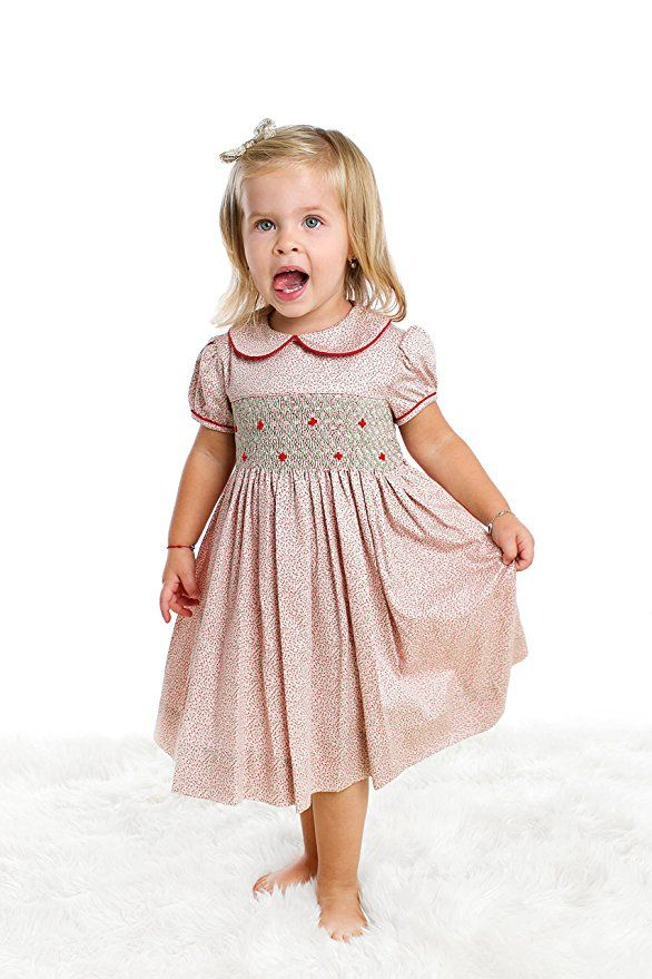 Toddler Girls's Hand Smocked Holiday Dress - Floral Print ...