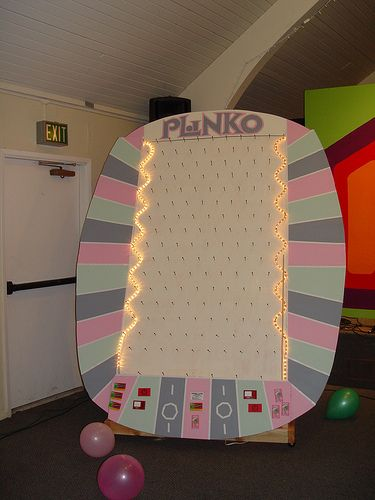 Plinko homemade game board use a pegboard and lights for Plinko board dimensions