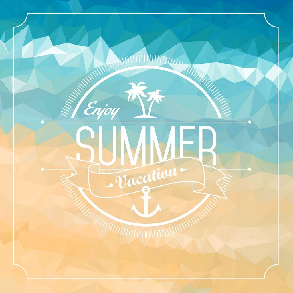 ENJOY SUMMER Clean White Badge With Sign Enjoy Summer Vacation On Low Poly