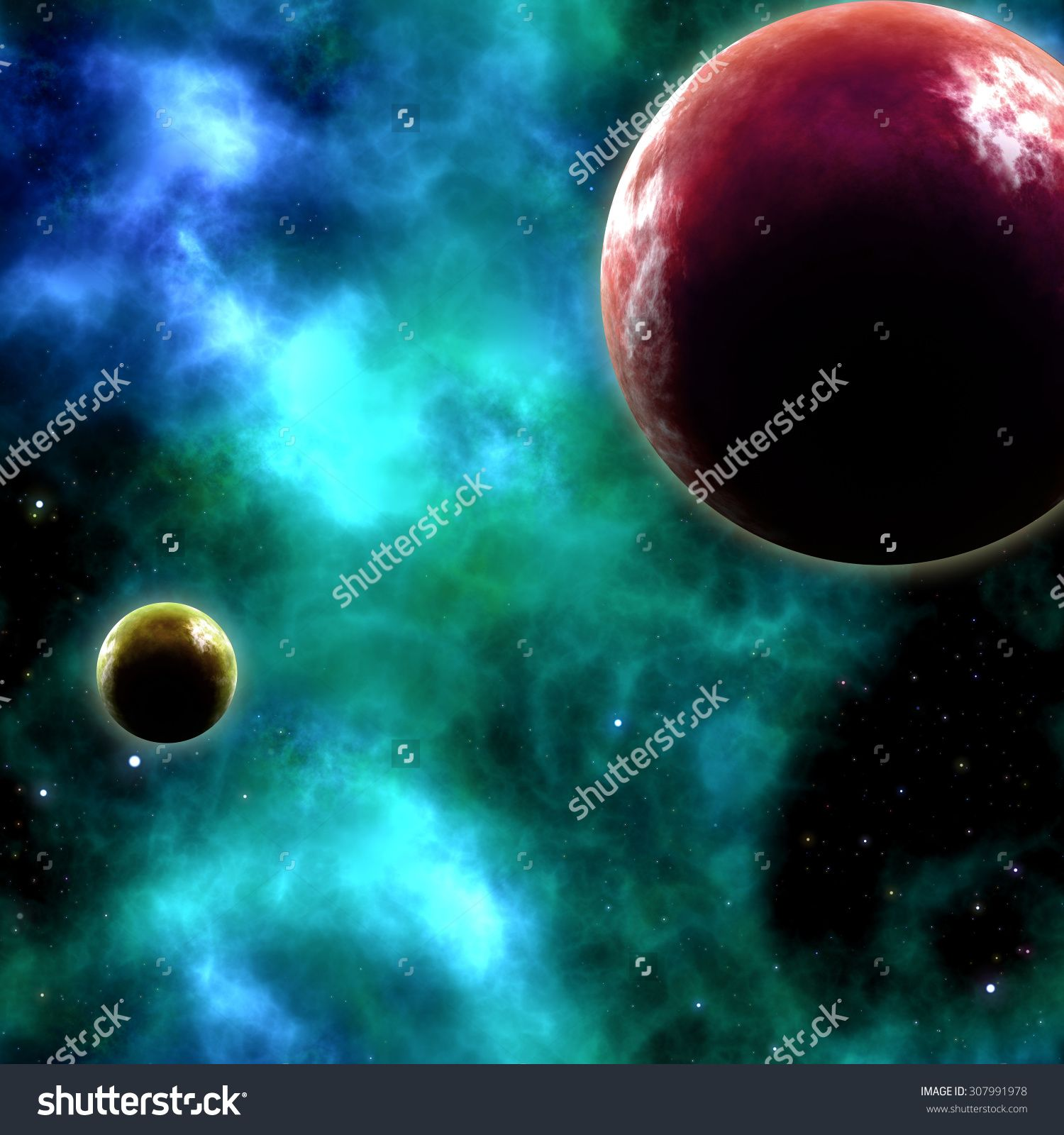 Planets and nebula in Universe