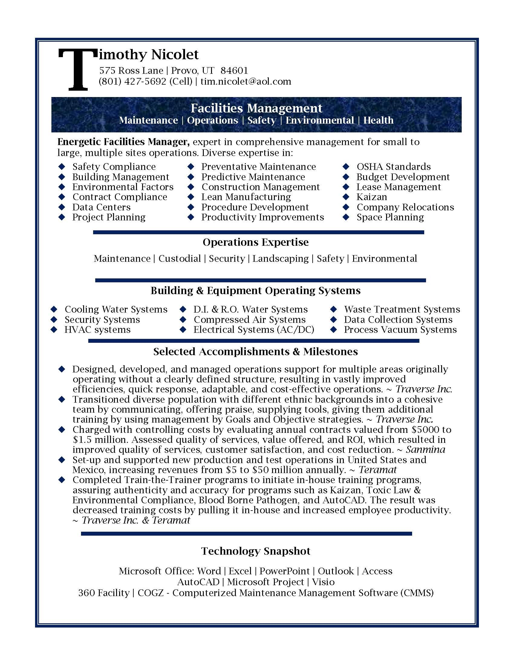 resume Change Management Resume Examples resume samples professional facilities manager sample sample