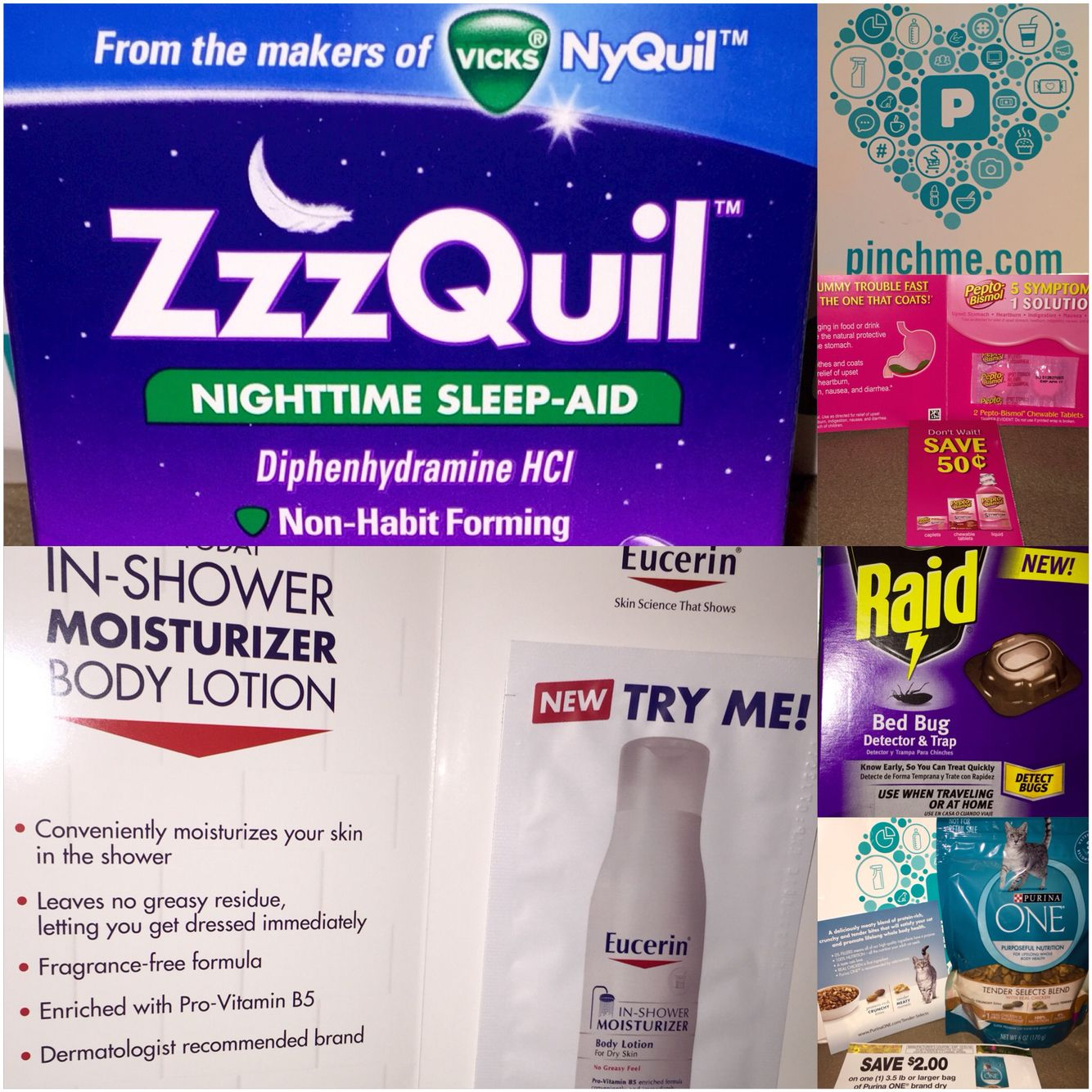 June 2016 Nyquil Zzzquil Raid Bed Bug Detector Purina One Catfood Pepto Bismol Eucerin Sleep Lover Nighttime Sleep Aid Nyquil