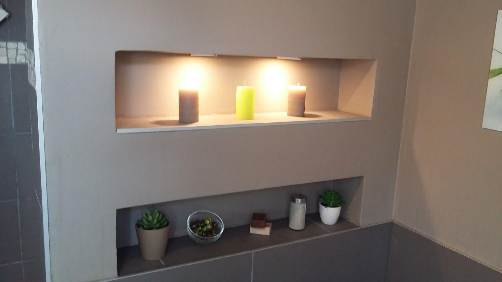 salle de bain zen nature moderne design taupe galet niche intégré ...