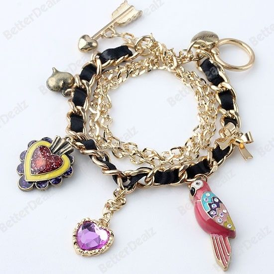 "Golden Chain Enamel Parrot Heart Dangle Charms Beads Bracelet Fashion Korean 8""L"