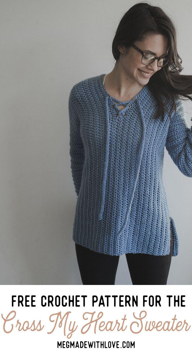 Free Crochet Pattern for the Cross My Heart Sweater | Heart sweater ...