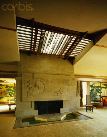 Frank Lloyd Wright S Hollyhock House Fireplace Has A Moat Around I Frank Lloyd Wright Architecture Frank Lloyd Wright Buildings Frank Lloyd Wright Interior