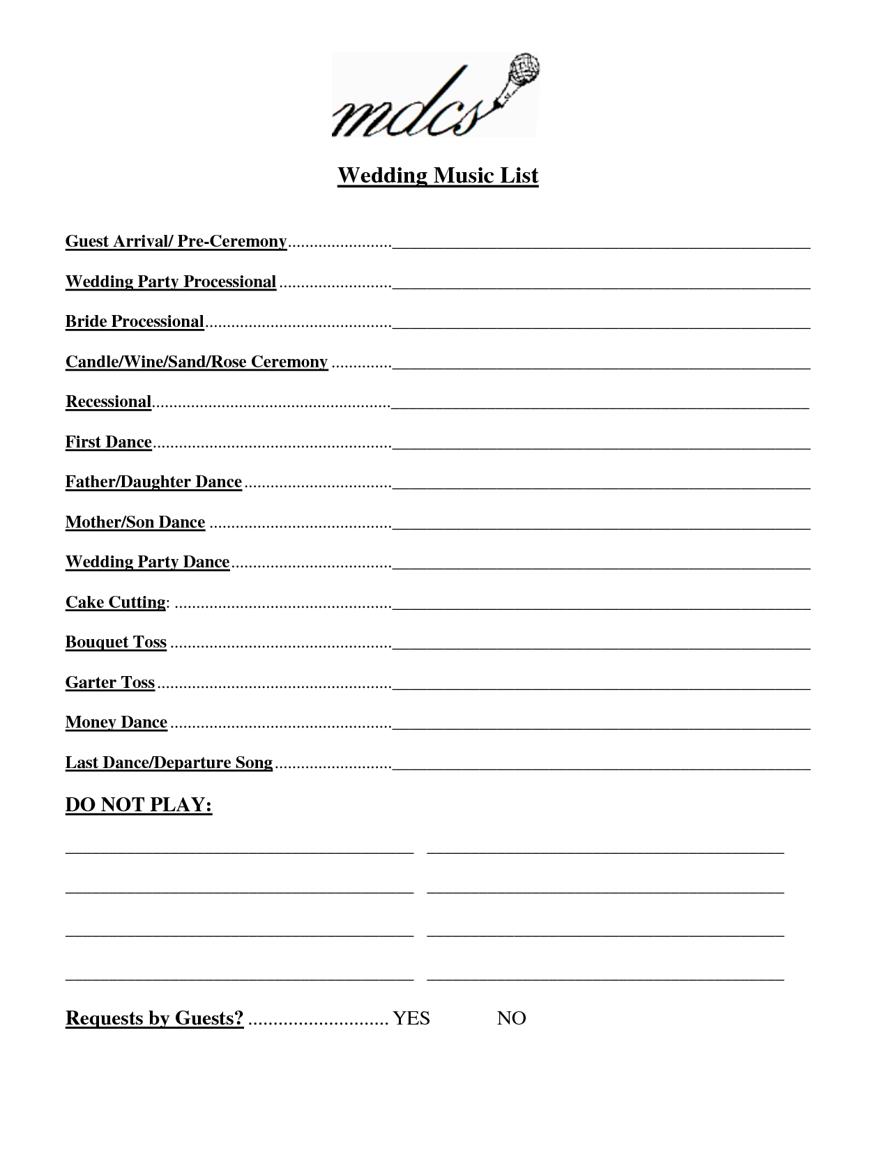 Wedding Party List Template Free | FosterHaley Wedding Music List ...