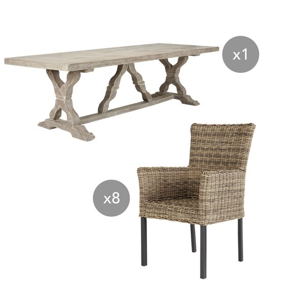 Oka Garden Furniture Conisbrough table and newport chair outdoor set oka garden conisbrough table and newport chair outdoor set oka workwithnaturefo