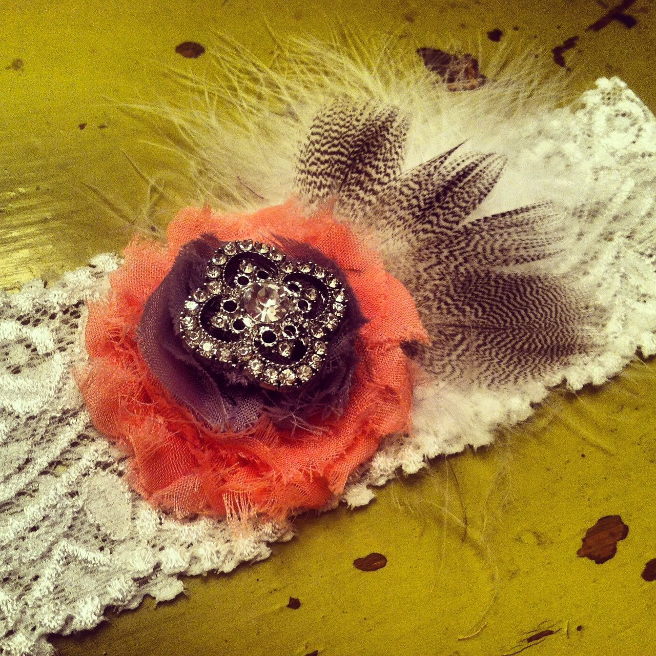 Coral Garter / Wedding garter / bridal garter/ lace garter / toss garter / Something Blue wedding garter / vintage inspired / Shabby garter. $22.99, via Etsy.