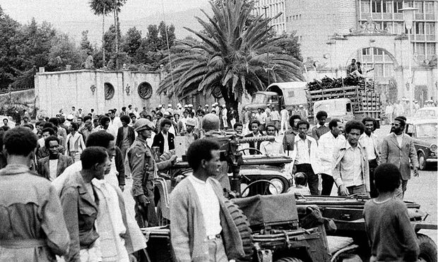 Students protest in Addis Ababa, Ethiopia, September 17, 1974, against the military committee that seized political power last week (PHOTO: AP)