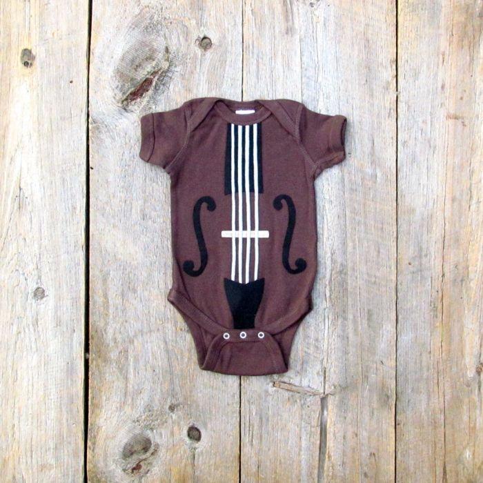 Bedruckte-Babystrampler-t-shirts-geige-Aufdruck-musikalische ...