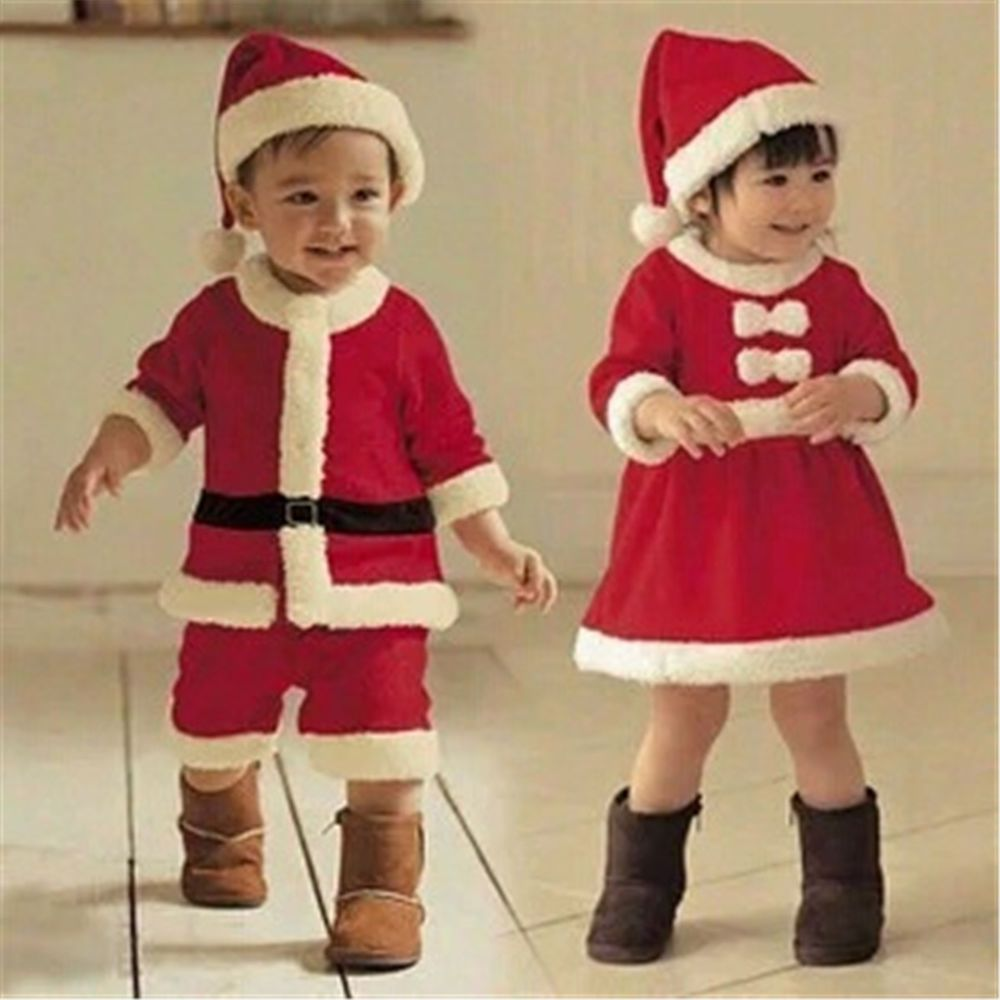 6a08abd9dc80 Kids Baby Boy Girl Christmas Clothing Costumes Santa Claus Cosplay ...