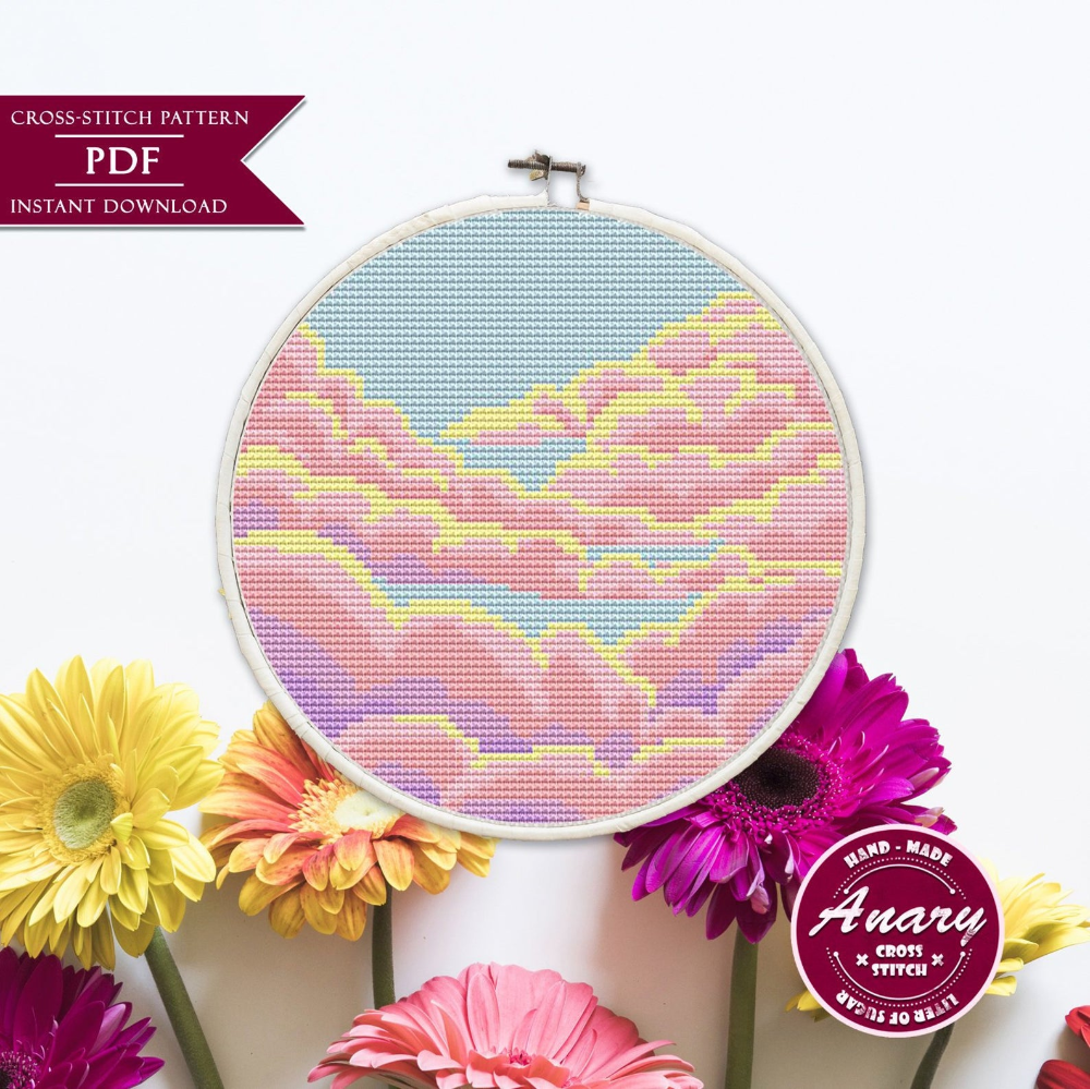 Photo of Cloud Cross Stitch Pattern Sunrise Cross Stitch Design Summer Embroidery Sunset Cross Stitch Pattern 6 inch Instant Download PDF