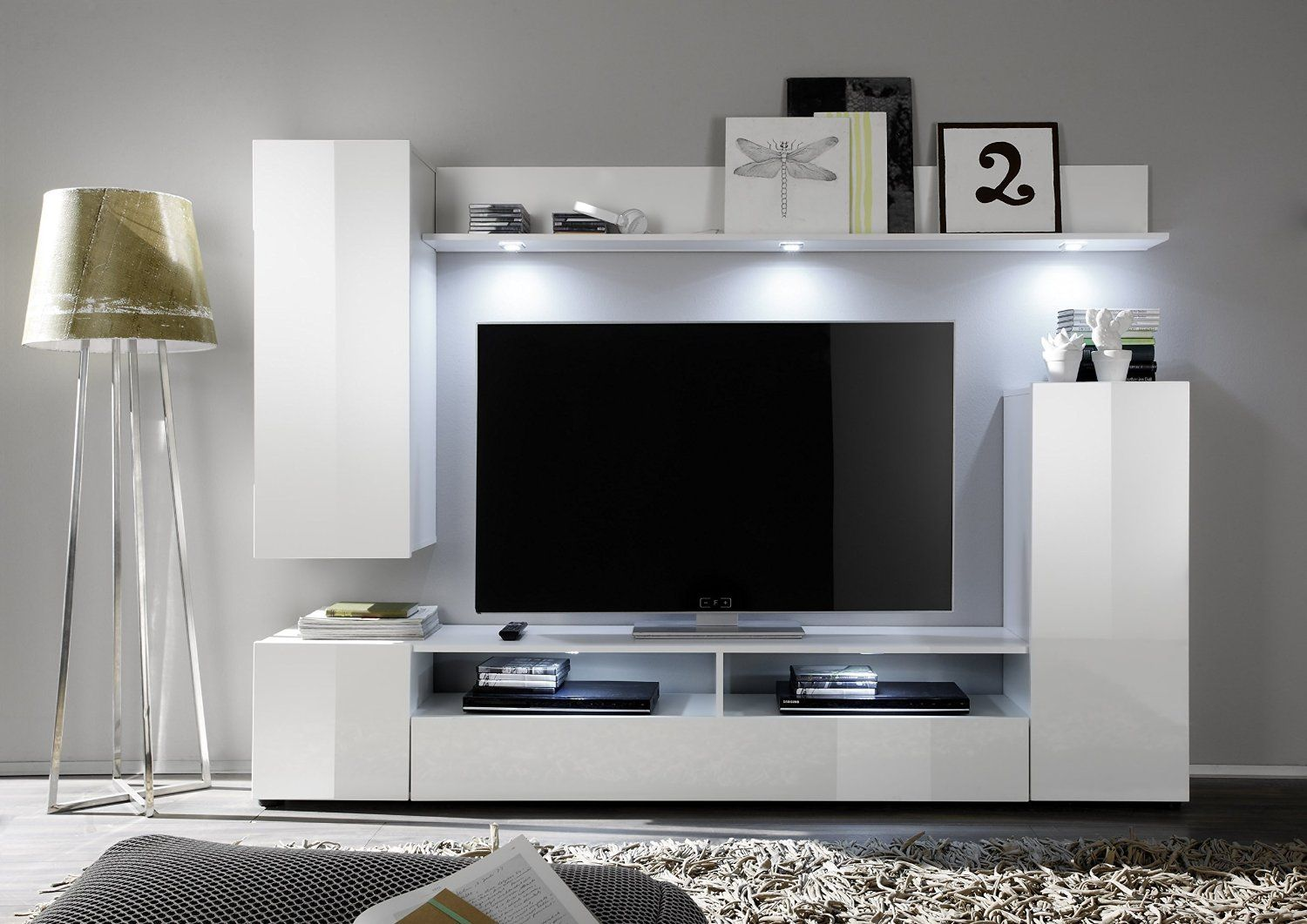 Furnline 1396 945 01 dos high gloss tv stand wall unit - High gloss living room furniture uk ...