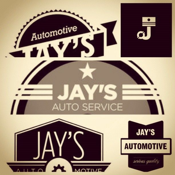 Vintage Logo Design Inspiration: Concepting Logos For Jays Auto Services! Drew On
