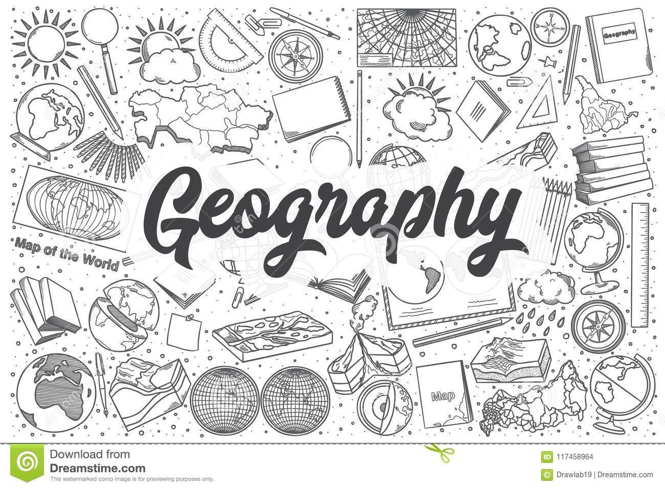 Illustration About Hand Drawn Geography Doodle Set Lettering Geography Illustration Of Diary Background Illustration How To Draw Hands Doodles Geography