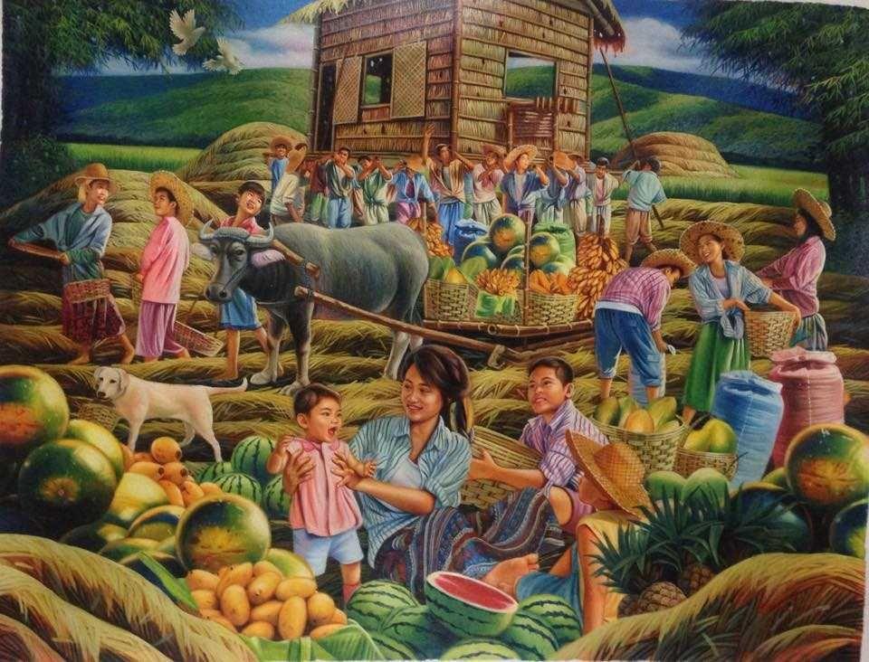 Dante Hipolito : Bayanihan   Philippine art, Art, Filipino art