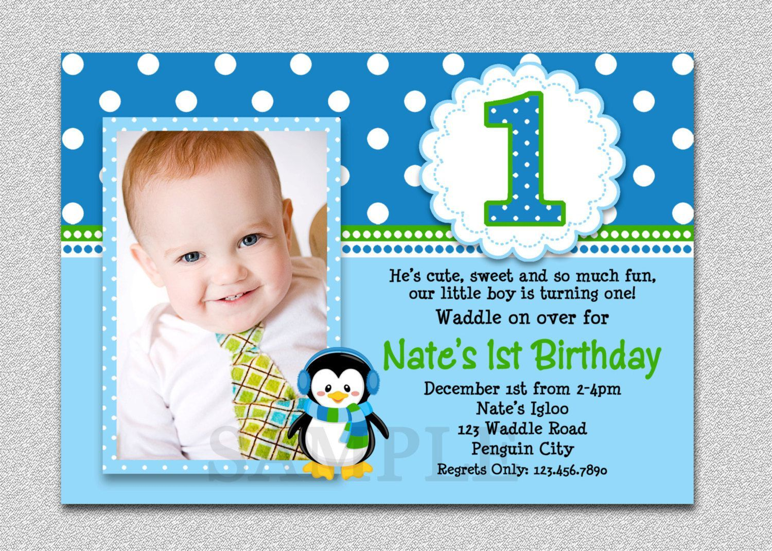1st birthday and baptism combined invitations baptism birthday invitation card for boy concept bossy baby boy invitation card with smiley baby photos design alongside blue polka dot frames and round tenplate stopboris Images