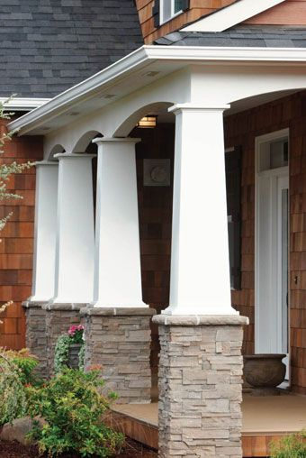 Columns With A Brick Base For The Under Porch Patio Craftsman