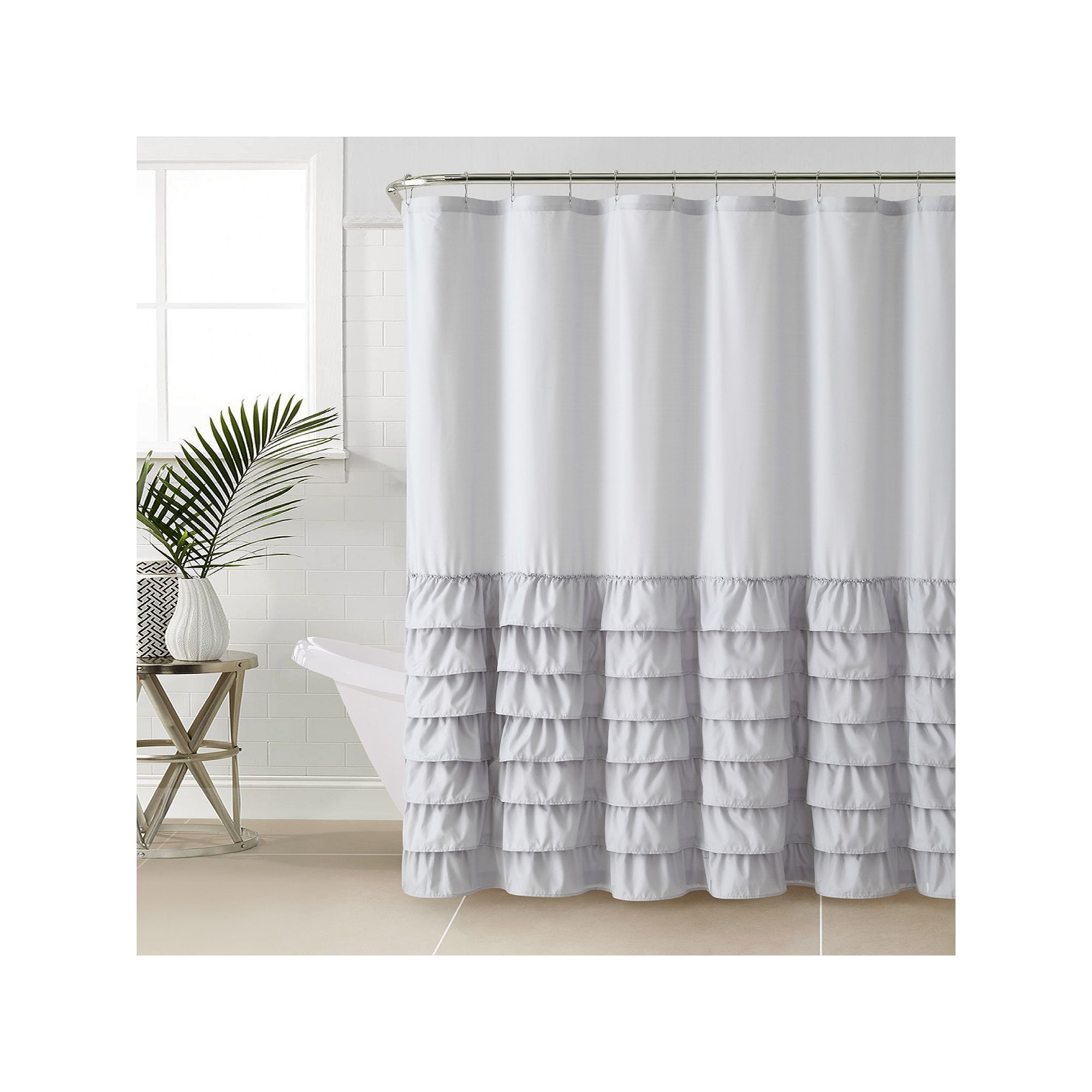 Vcny Melanie Ruffle Shower Curtain, Grey   Products   Pinterest ...
