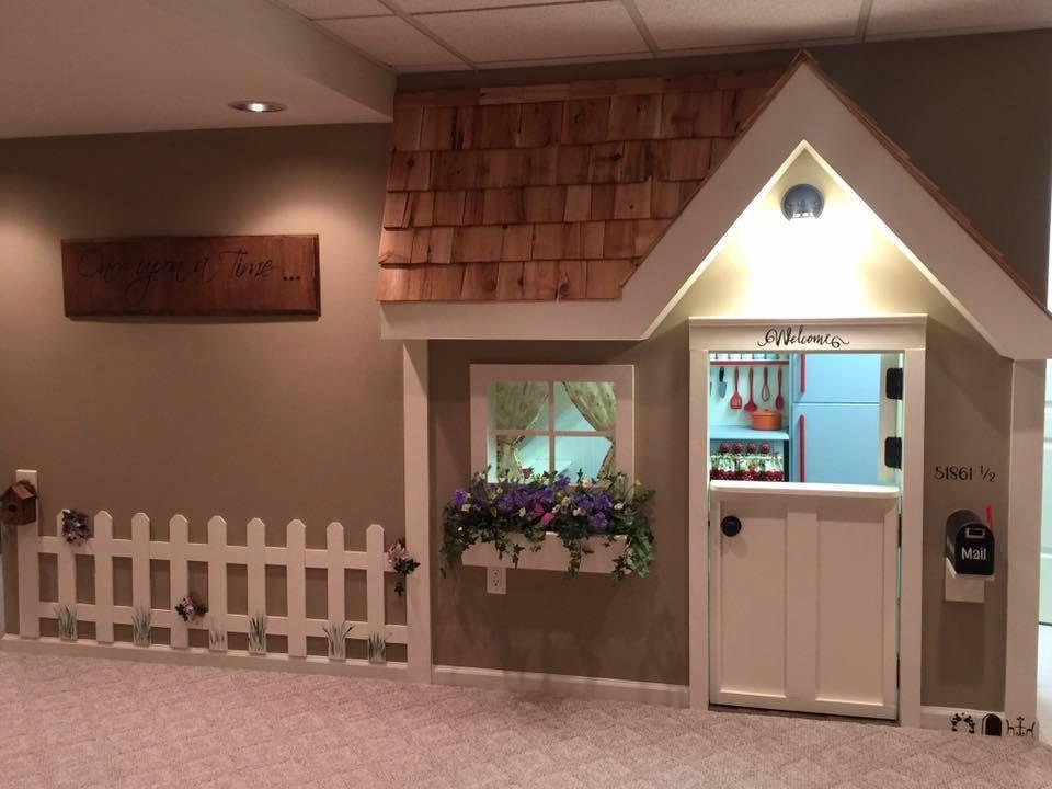 Epic Grandmother S Basement Make Over Remodelicious Play Houses Finishing Basement Basement Remodeling