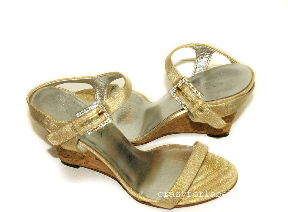 d578361c07df1 Dolce   Gabbana Gold Cork Wedge Party Sandals Swarovski Crystals 39 US Sz 9   DolceGabbana  OpenToe