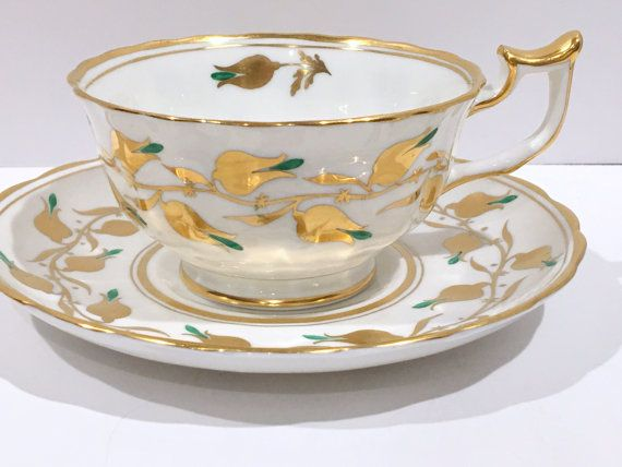 Turquoise Gold White Royal Standard Teacup And Saucer English Tea Cups English Tea Cups Tea Pots