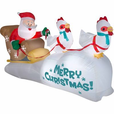 4 Ft Inflatable Chickens Pulling Santa S Sleigh For Christmas Lawn Decor Outdoor Christmas Decorations Christmas Inflatables Outdoor Christmas