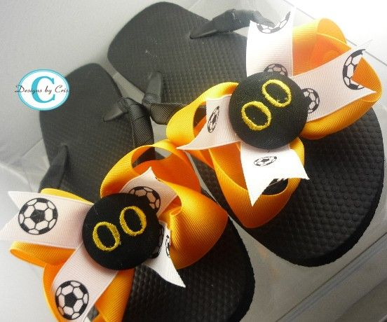 47b25c81ef3b9e Soccer Flip Flops Bow Number Personalized by BowFlipFlops on Etsy ...