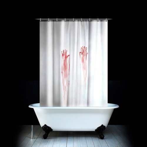 """The Blood Bath Shower Curtain is certain to being out the Bates in you – be the first to act out the most famous of Hitchcock's scenes in the privacy of your own home. The shower curtain looks like any ordinary white shower curtain, but when drawn for a shower – it reveals a """"blood soaked"""" alter ego that is sure to frighten and amuse all you lovers of slasher films and of course the inimitable Mr Hitchcock."""