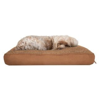 FurHaven Snuggle Terry and Suede Deluxe Pillow Pet Bed (Small - Camel), Beige