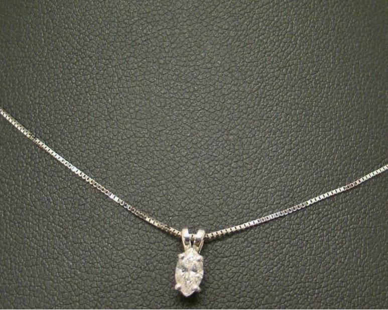 14k White Gold Solitaire Pendant Marquise 1 3 Carat Diamond 16 Necklace Chain White Gold Diamonds Diamond Pretty Diamond