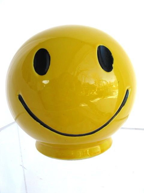 VINTAGE 70'S McCOY SMILEY FACE COIN BANK HAVE A HAPPY DAY SERIES!