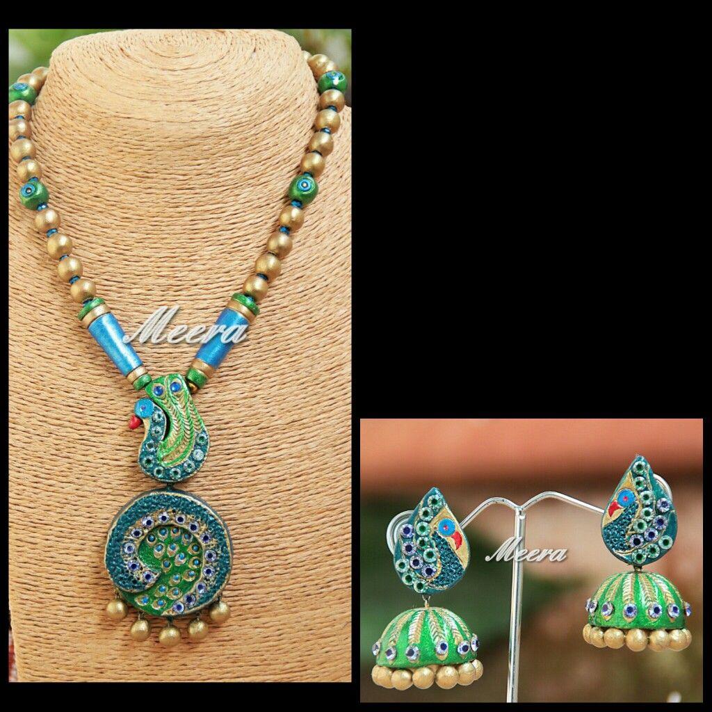 Terracotta jewellery - Peacock set