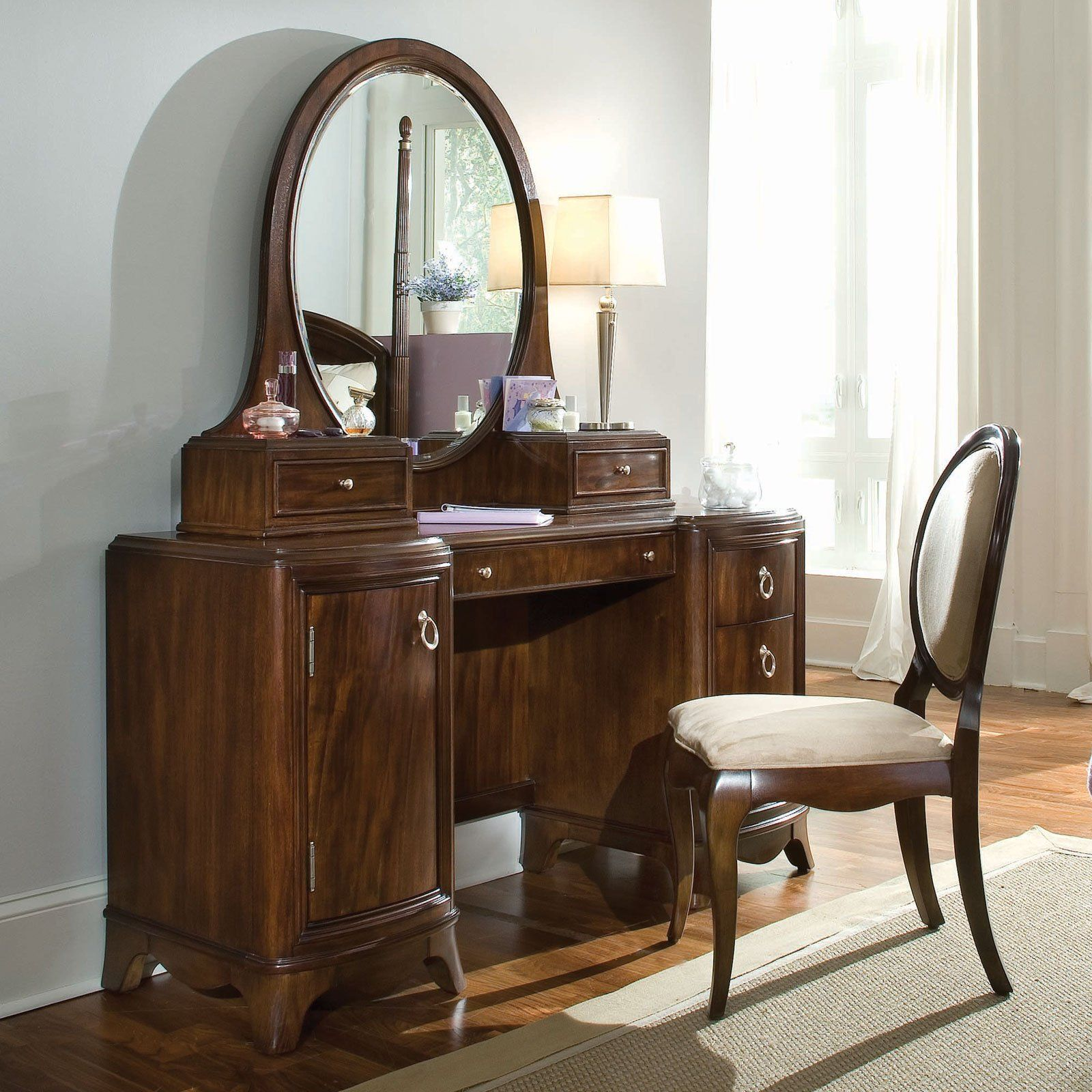 Elegant Dark Brown Wooden Antique Vanity Table Design With Chair And Round  Mirror Beside Lamp Desk