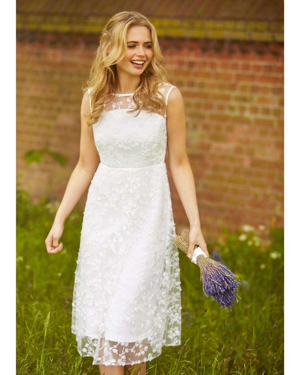 f8293c9082a5c Azalia Midi Dress from Alie Street - This pretty, feminine and simple lace  dress ensures the bride takes centre stage.