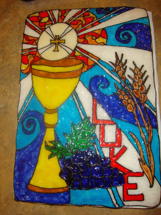 White cake with hand-drawn stained-glass detail. I tinted ...