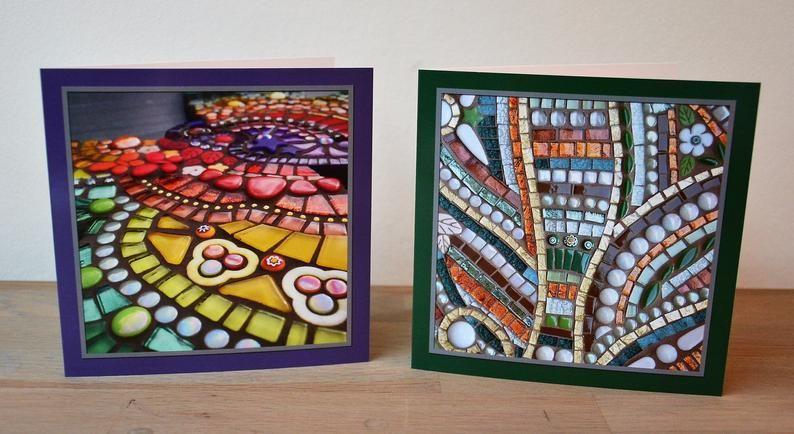 Greeting Cards Mosaic Design Set Of 5 Etsy Mosaic Designs Mosaic Greeting Cards