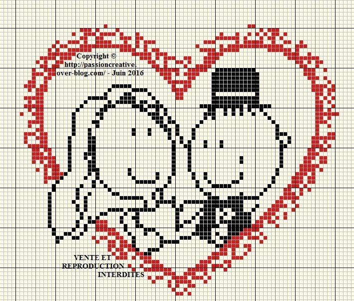 Grille gratuite point de croix : Mariage - Coeur des mariés 1 | Point de croix mariage, Point de ...